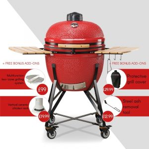 Kamado Bono Ceramic Grande Limited Red Barbeque Grill-min