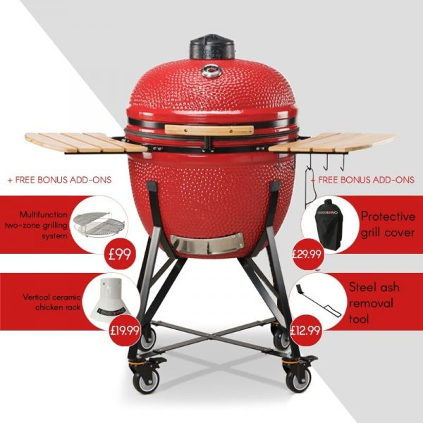 Kamado Bono Ceramic Grande Limited Red Barbeque Grill-min
