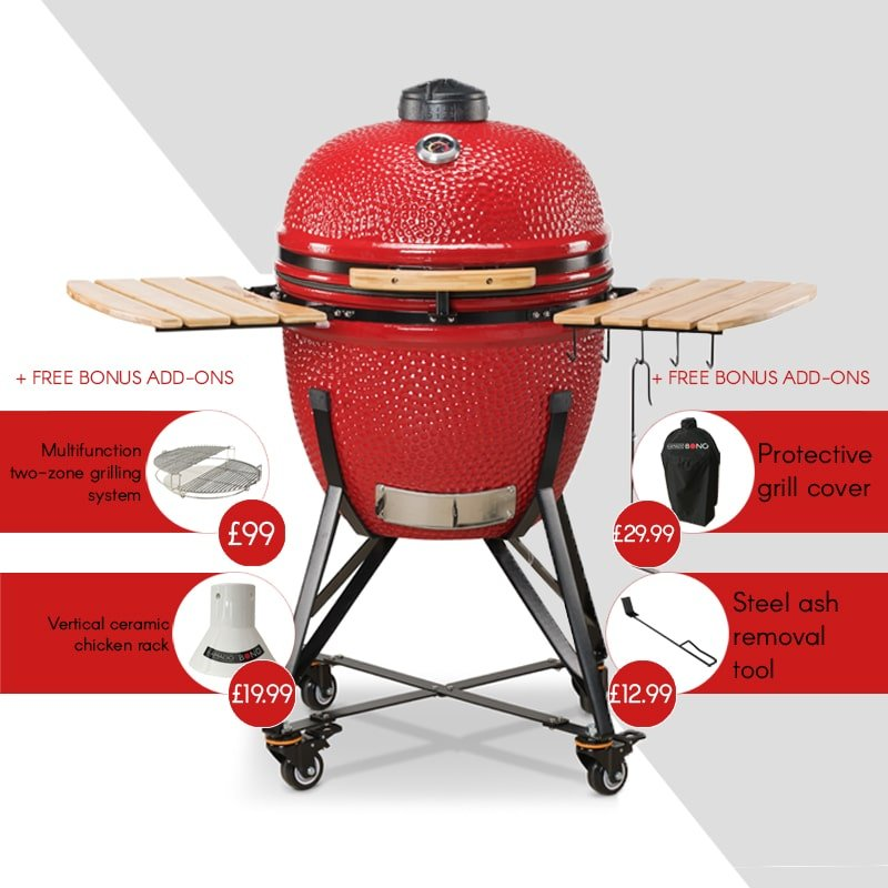 Kamado Bono Ceramic Grande Red Barbeque Grill-min