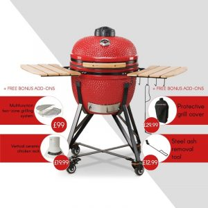 Kamado Bono Ceramic Media Red Barbeque Grill-min