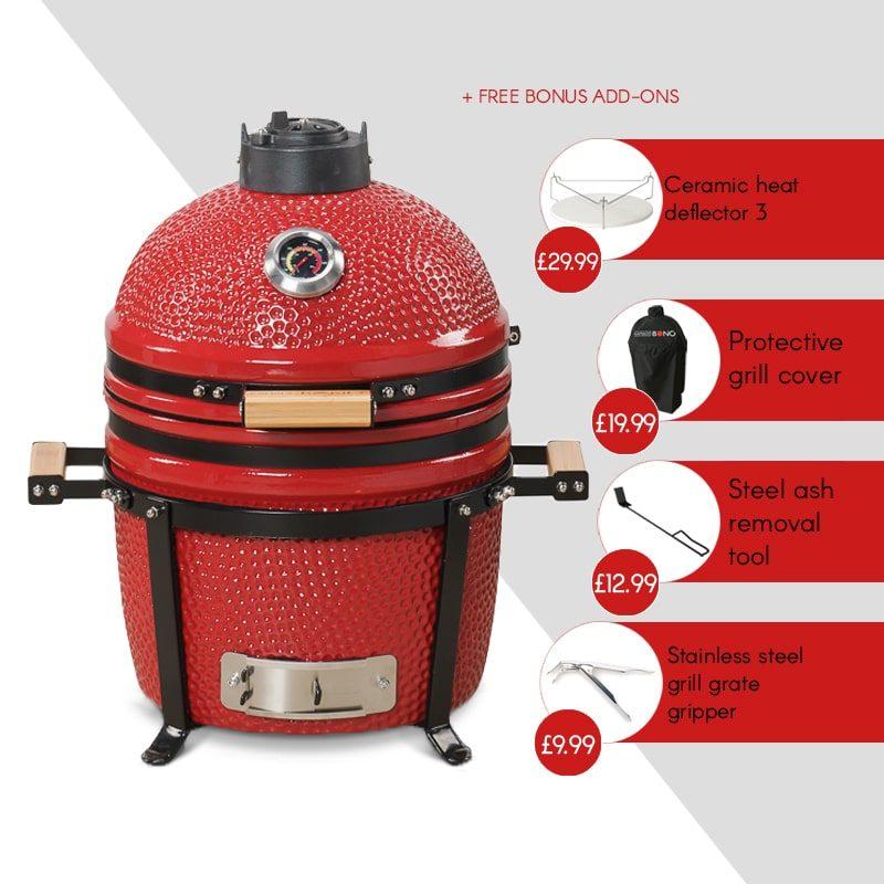 Kamado Bono Ceramic Minimo Red Barbeque Grill-min