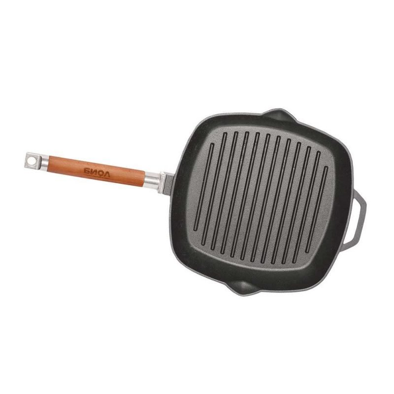 Ribbed cast iron grill frying pan, 280x280mm, H 45mm.