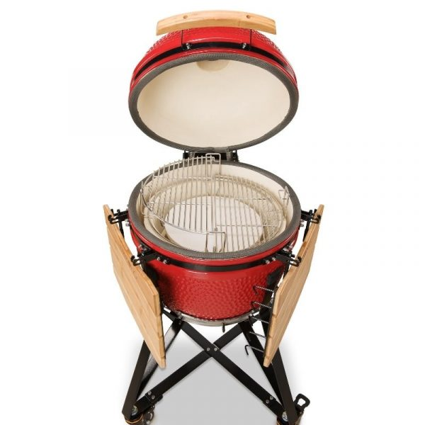 Kamado Bono Ceramic Media Red Barbeque Grill 4-min