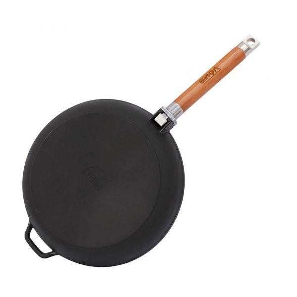 Kamado Kings 280 mm-diameter deep cast iron frying pan, H 66mm.