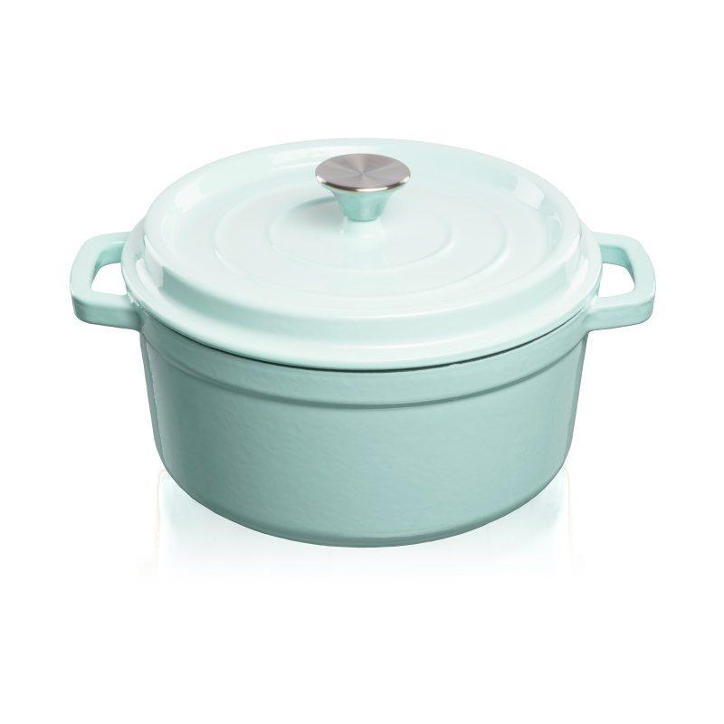 Grandfeu Enamelled Cast Iron Pot in Light Blue, 4.7l. With Lid