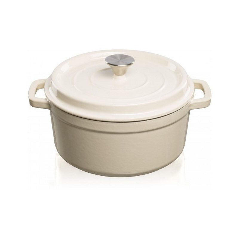 Grandfeu Enamelled Cast Iron Pot in White, 4.7l. With Lid